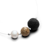 DUR Schmuck Kette Treibsand Strandsand, Lava, Perle Silber 925/- ca 42cm (K2279)