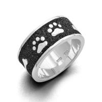 "DUR Schmuck Ring ""Lucky Dog"" 925/- Sterlingsilber Lavasand rhodiniert (R4663)"