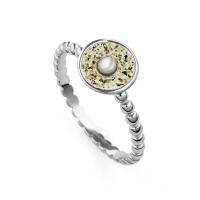 """DUR Schmuck Ring """"Sandschale"""" Perle rhodiniert Silber 925/- (R4971)"""