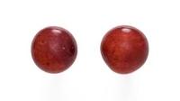 DUR Schmuck Ohrstecker rote Korallenkugel Sterling Silber 925/- (O3862)