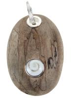 *Neu* DUR Schmuck Anhänger Treibholz *Holzkiesel* mit Meeresauge, Silber 925/- (P3127) wahlweise mit Lederband