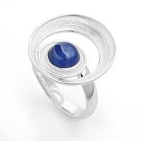 "DUR Schmuck Ring ""Meeresstrudel"" Kyanit, Silber 925/- (R4830) Größe variabel"