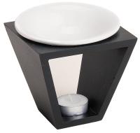 Duftlampe Holz/Keramik (12 x 12 x 12 cm) + 1x Duftwachs Vanille (15g)