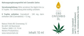 *Angebot 3* Natura Vitalis Reines CBD Cannabis-Öl 5%