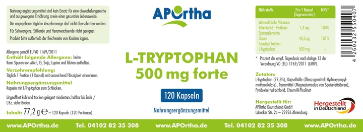 bioteams ihr onlineshop f r beauty wellness nordhit aportha l tryptophan forte 500mg 120. Black Bedroom Furniture Sets. Home Design Ideas